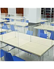 Transparent Rectangle Sneeze Guard, Can Be Assembled Freely 4-Person Freestanding Resin Divider Shield, Ideal for School, Restaurant, Office, Break Room - Various Sizes