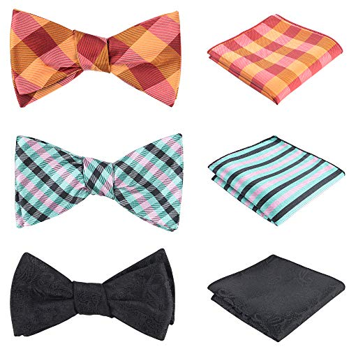 OUMUS 3pcs Mixed Design Classic Adjustable Multiple Men's Self-Tie Bow tie & Pocket Square Set Good Gift For Men
