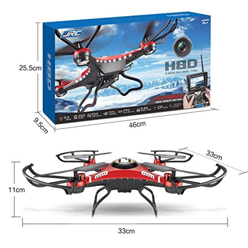 Gbell Kids Adults HD Camera Drone - JJRC H8DH 6-Axis Gyro 5.8G FPV RC Quadcopter Drone with Monitor - Boys Girls Adults Birthday Christmas New Year Gifts,Red (Red) by Gbell-USA Warehouse (Image #8)