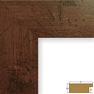 """Craig Frames FM74DKW 11 by 14-Inch Rustic Photo Frame, Smooth Grain Finish, 2-Inch Wide, Dark Brown - Traditional style; dark walnut brown; distressed wood grain appearance; smooth laminate wrap finish Frame includes: glass, rigid black backing and pre-attached stamped hanging hardware Frame holds a 11 inch by 14 inch photo/print (viewable area reduced by .25"""" on each side due to frame lip) - picture-frames, bedroom-decor, bedroom - 51m9MlSFNVL. SS400  -"""