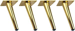 """RZDEAL 4Pcs 4-3/4"""" Stainless Steel Furniture Legs Contemporary Euro Style Hardware Support Sofa Legs Titanium Gold Shoe Cabinet Feet Replacement Home Accessories DIY"""