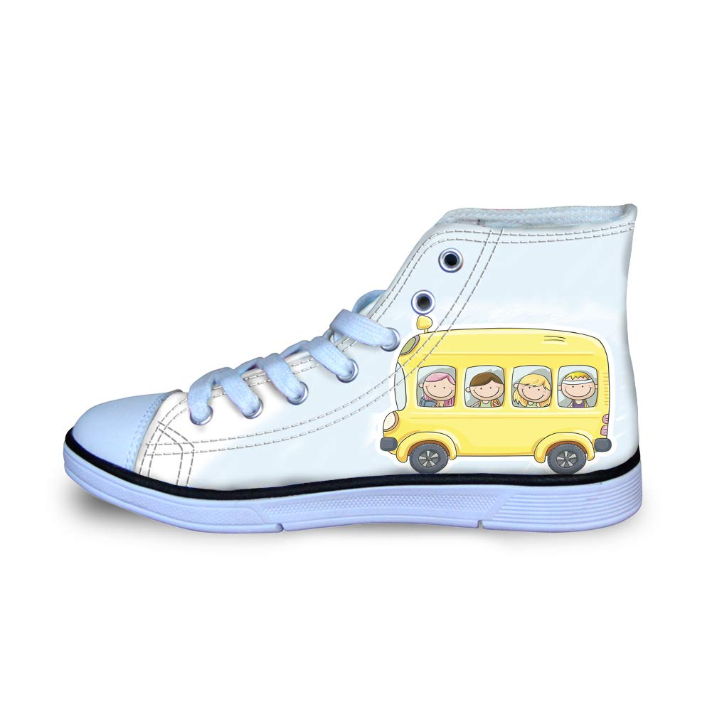 Canvas High Top Sneaker Casual Skate Shoe Boys Girls Boys and Girls Happily Smile On School Bus