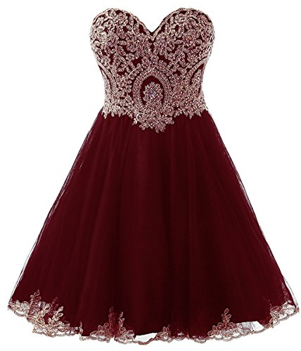 Belle House Women's Short Tulle Strapless Prom Party Gown Lace Homecoming Dresses Burgundy