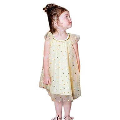 0f78c270 Kaiki Girls Princess Dress, Children Kid Infant Star Print Short Sleeve  Bling Net Yarn Clothes Dress: Amazon.co.uk: Clothing