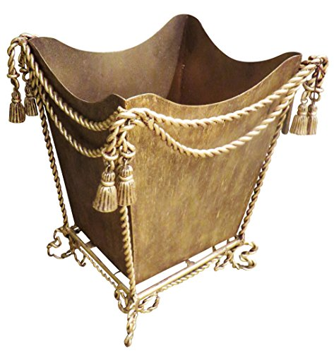 Gold Iron Waste Basket Ornate | Romantic Bathroom Tassel - Antique Italian Tole