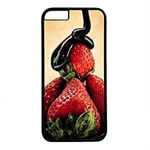 Hard Back Cover Case for iphone 6 Plus,Cool Fashion Black PC Shell Skin for iphone 6 Plus with Strawberry And Chocolate