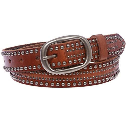 MONIQUE Women Oval Riveted Nailheads Studded Skinny Leather Snap On 29mm Belt,Tan 32