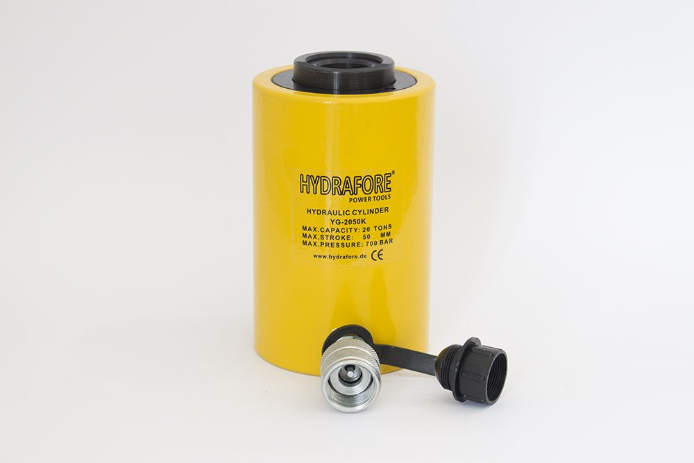20 tons 2'' stroke Single acting Hollow Ram Hydraulic Cylinder Jack YG-2050K by HYDRAFORE (Image #1)