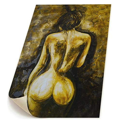 Wall Art Prints Sexy Brown Naked Nude Woman Back Body Butt Booty -Photo Paintings Modern Home Decoration Giclee Artwork-NO Frame ()