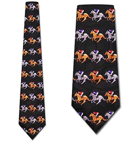 Race Horses Stripe Necktie - Men's Novelty Tie