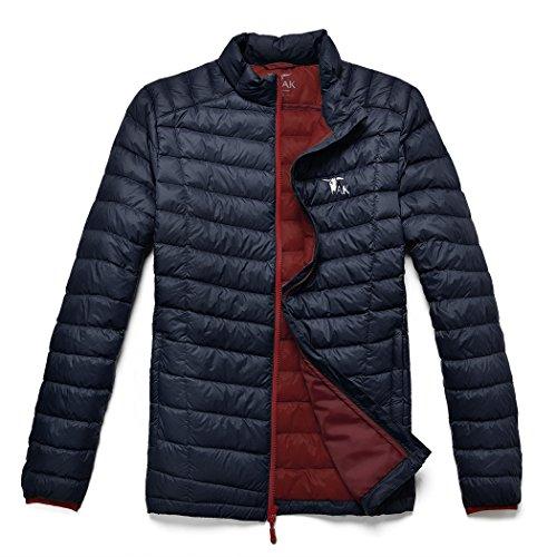 TAK Men's Puffer Down Jacket Packable Ultra Light Coat 01-Navy Blue Red-XL ()