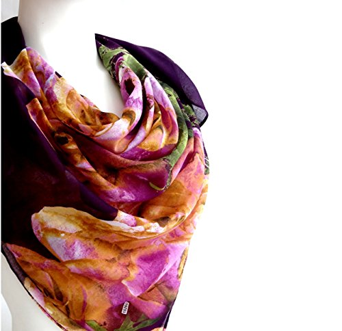 Purple Flowers Elegant Spring Scarf Women's Fashion Accessories Soft Cotton Large Square Print Scarf Shawl Wrap 38 x 38 inches