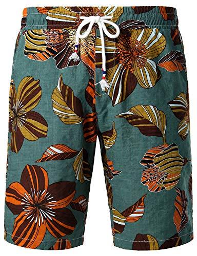 JOGAL Men's Flower Flat Front Casual Aloha Hawaiian Shorts (Small, Green ()