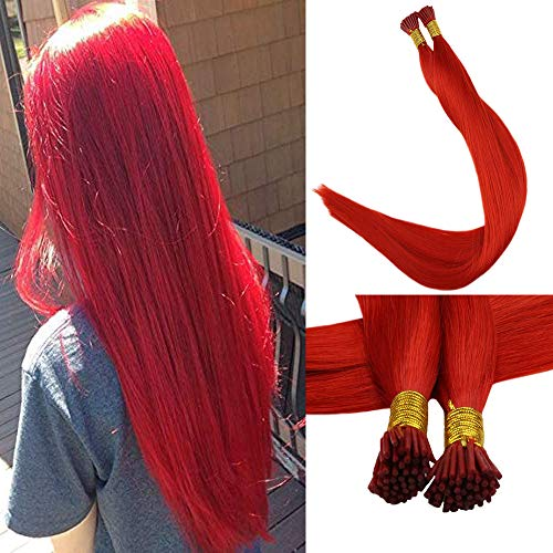 Full Shine Reheating Beads Hair Extensions 18 Inch Red Solid Color 0.8 Per Strand 40g Per Package Keratin Hair Extensions 100% Real Remy Human Hair Extensions ()