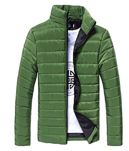 Colore Forma Addensato Alla In Verde Coreana Full Di zip Solido Capispalla Colletto Nerastro Mogogomen HPB40qw