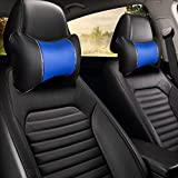 10027 Black/Blue- Pack of 2 - Universal Car Seat Head & Neck Rest Pillow - Auto Headrest Bone Shape Pillow Cushion - Pu Leather Soft and Comfortable for Travelling (Black/Blue-2PC)