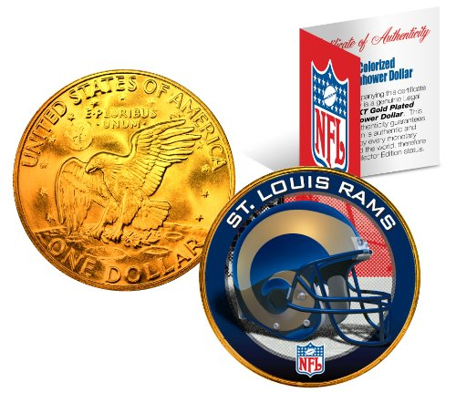 ST. LOUIS RAMS NFL 24K Gold Plated IKE Dollar US Coin OFFICIALLY LICENSED with NFL Certificate