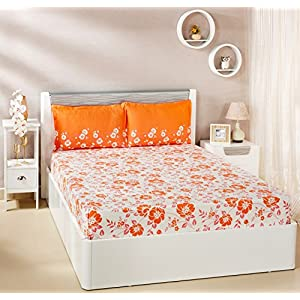 Amazon Brand – Solimo Jasmine Zest 144 TC 100% Cotton Double Bedsheet with 2 Pillow Covers, Peach