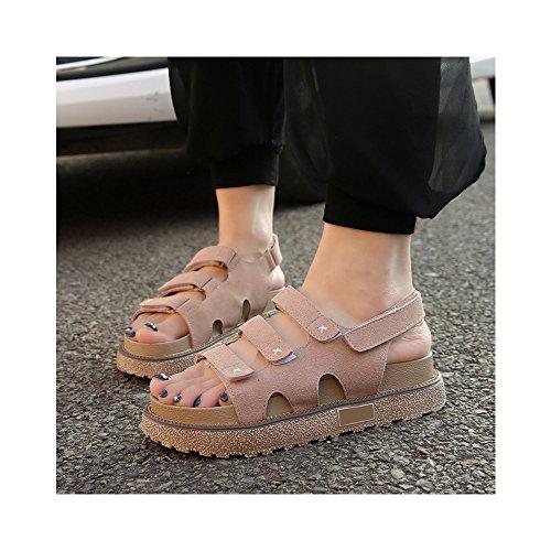 OCHENTA Romana sandalias de plataforma zapatos del estudiante de velcro yardas grandes #04 Albaricoque