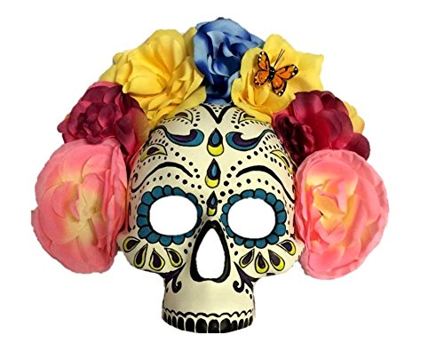 Day Of The Dead Adult Half Mask (Day Of The Dead Half Mask Skull Womens Adult Costume Accessory Butterfly Flowers)