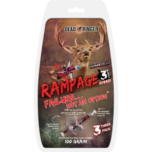 Dead Ringer Rampage 100 Grain 3-Blade for Broadheads (3-Pack), 1.5-Inch