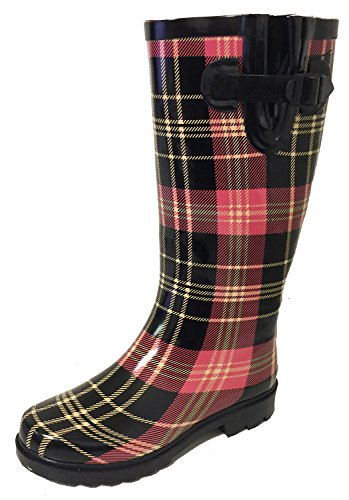 G4U Women's Rain Boots Multiple Styles Color Mid Calf Wellies Buckle Fashion Rubber Knee High Snow Shoes Black/Red Plaid