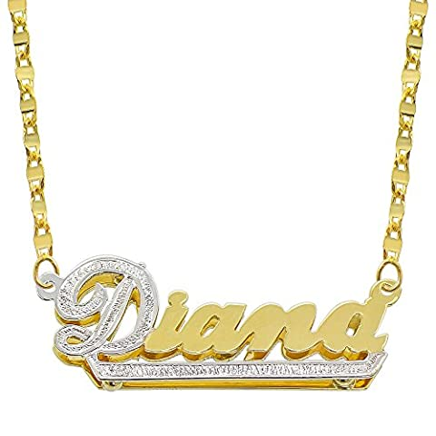 14K Two Tone Gold Personalized Double Plate 3D Name Necklace - Style 7 (16 Inches, Hammer Chain) (Gold Plate Chain Necklace)