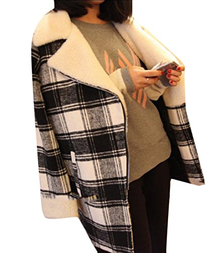 Winter amp;S M Wool Print Pea Jackets Plaid amp;W Trench Women's White 4wdPqdHt