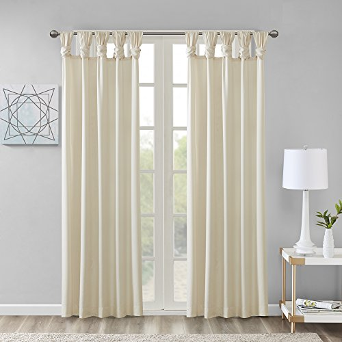 Comfort Spaces - Ekko Microtwill Twisted Tab Window Curtain Pair - Ivory - 50x95 Inch Panel - 2 Panels - Tab Top Curtain Set