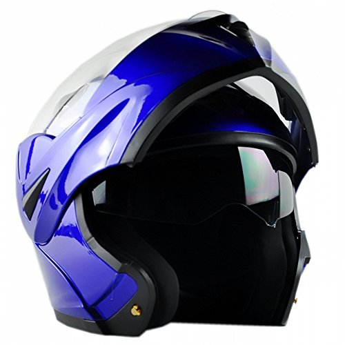 ILM 10 Colors Motorcycle Flip up Modular Helmet DOT (XL, - Helmet Motorcycle Modular Blue