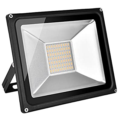 Coolkun 50W LED Flood Lights,Super Bright Work Lights,Warm White Outdoor and Indoor IP65 Waterproof Security Light for Garage, Garden, Lawn and Yard