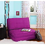 Ultra Suede Material Space Saver Convertible Flip Chair, Multiple Colors (Berry)