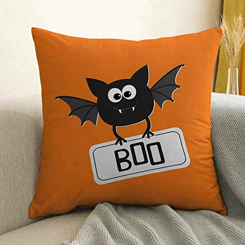 Halloween Silky Pillowcase Cute Funny Bat with Plate Boo Fangs Scare Frighten Seasonal Cartoon Print Super Soft and Luxurious Pillowcase W18 x L18 Inch Orange Black -
