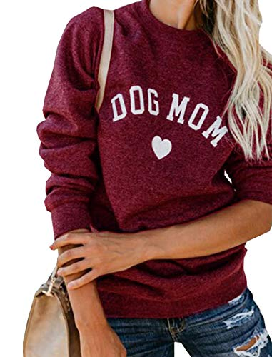 MNLYBABY Womens Dog Mom Long Sleeve Crew Neck Casual Lightweight Fleece Pullover Sweatshirt Size US 8/Tag XL (Wine Red)