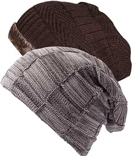 Ousipps 2 Pack Mens Winter Thick Warm Cable Knit Beanie Hats with Fleece  Wool Lined ef84e59d8b4f