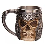 3D Skull Mug Stainless Steel Tankard Mug Coffee Tea Water Drinking Cup for Party Or Bar 15 x 10.5cm Capacity 301-400ml
