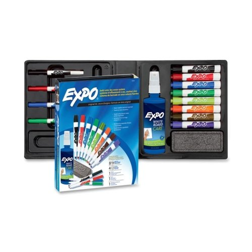 Dry Erase Marker Set (Expo Low Odor Dry Erase Marker Kit - Fine Marker Point Type - Chisel Marker Point Style - Assorted Ink - 12 / Set)