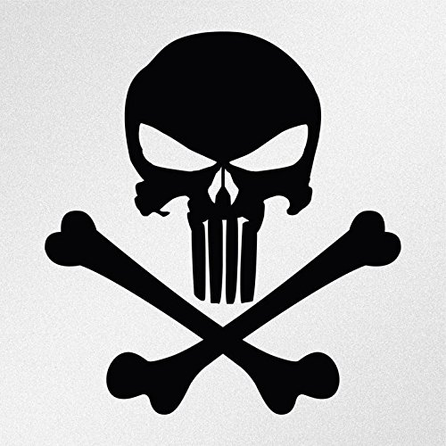 Punisher Skull And Crossbones Decal Vinyl Sticker|Cars Trucks Vans Walls Laptop| Black |5.5 x 5 in|CCI1118 -