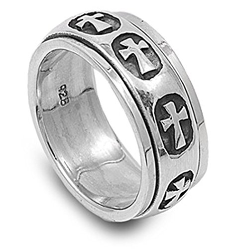 Sterling Silver Women's Mens Heavy Cross Ring Wholesale 925 Band 9mm Size 9