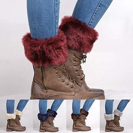 uyhghjhb Calzoncillos de Bota Acanalados Peludos para Mujer Calentadores de piernas Calcetines de oto/ño Invierno