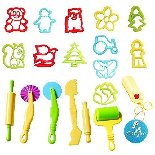 Carykon Smart Dough Tools Kit with Models and Molds, animals with scissors, Set of 19