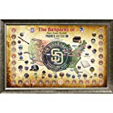 MLB San Diego Padres Major League Baseball Parks Map 20x32 Framed Collage with Game Used Dirt From 30 Parks