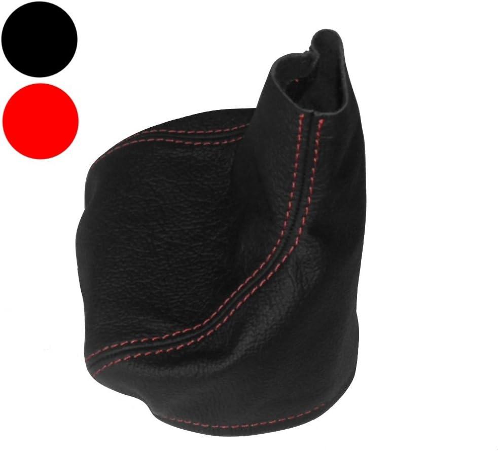 Funda para palanca de cambios 100/% PIEL GENUINA negro con costuras rojo AERZETIX