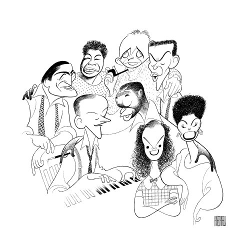 Hand Signed AL HIRSCHFELD, AMERICAN POPULAR SONG: GREAT AMERICAN SINGERS, Limited-Edition Lithograph: Tony Bennett, Ella Fitzgerald, Bing Crosby, Frank Sinatra, Lena Horne, Judy Garland, Nat 'King' Cole, and Fred Astaire