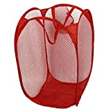 Dirty Clothes Basket - SODIAL(R) Household Dirty Clothes Laundry Folding Mesh Bag Basket Holder Red