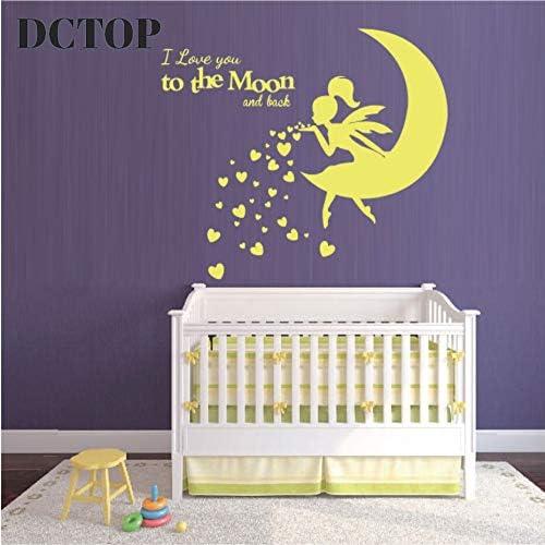 wukongsun Hermosa Hada Que sopla corazón Beso Pegatinas Te Amo a la Luna Apliques Cuarto de niños decoración del hogar Mural 43cmx44cm: Amazon.es: Hogar
