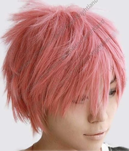 Flyingdragon¡¡Fairy Tail Natsu Dragneel Short Pink Cosplay Party Wig (Short Pink Wig)