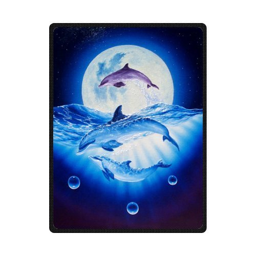 (Kameng Custom Dolphin Wallpaper Unique Bed/Sofa Soft Throw Blanket 58x80inch (Large))