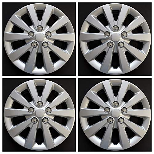 (MARROW New Wheel Covers Fits 2013-2018 Nissan Sentra; 16 Inch; 10 Spoke; Silver Color; Plastic; Spring Steel Clip; Wheel Cover has Fake lugs; Actual Item is in Photos; Set of 4)