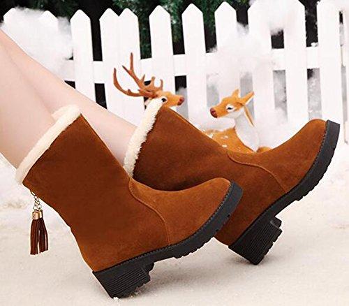 Idifu Womens Vintage Mid Chunky Heels Faux Suede Fleece Gevoerde Halfhoge Snow Boots Met Bruine Franjes